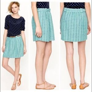 JCrew tweed mini skirt in green blue turquoise